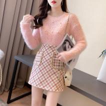 Fashion suit Winter 2020 S,M,L powder + powder , white + black , One piece pink top , One piece white top , One piece pink skirt , One piece black skirt 81% (inclusive) - 90% (inclusive)