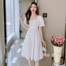 Dress Summer 2021 White, blue S,M,L Middle-skirt singleton  Short sleeve commute square neck Elastic waist Broken flowers Socket A-line skirt routine 18-24 years old Type A Korean version 51% (inclusive) - 70% (inclusive) other cotton