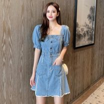 Dress Summer 2020 Denim blue S,M,L,XL Middle-skirt singleton  Short sleeve commute square neck High waist Solid color Single breasted A-line skirt puff sleeve Others 18-24 years old Type H Denim