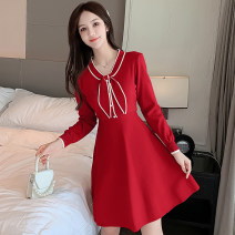 Dress Autumn 2020 Pink, red, black S,M,L,XL Mid length dress singleton  Long sleeves commute High waist Solid color Socket A-line skirt routine 18-24 years old Type A Korean version bow 51% (inclusive) - 70% (inclusive)