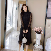 T-shirt Apricot, black S (less than 100 kg), m (100-110 kg), l (110-120 kg), XL (120-135 kg) Spring 2020 Long sleeves Half high collar Self cultivation Medium length pagoda sleeve commute other 71% (inclusive) - 85% (inclusive) lady originality Solid color Lace, hollowed out