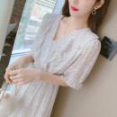 Dress Summer 2021 Green, pink S,M,L,XL Middle-skirt singleton  Short sleeve commute Elastic waist Decor Socket Others Korean version 91% (inclusive) - 95% (inclusive) Chiffon Cellulose acetate