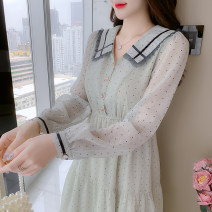 Dress Spring 2021 Picture color S,M,L,XL,2XL Mid length dress singleton  Long sleeves commute Doll Collar Elastic waist Dot Socket A-line skirt other Type A Korean version Button, button 81% (inclusive) - 90% (inclusive) Chiffon