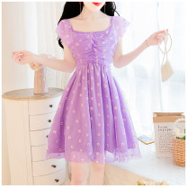 Dress Summer 2020 S,M,L Short skirt singleton  commute square neck High waist other zipper A-line skirt Flying sleeve 18-24 years old Other / other lady other