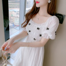 Dress Summer 2021 white S,M,L,XL longuette singleton  Short sleeve Sweet One word collar Elastic waist Socket A-line skirt pagoda sleeve 18-24 years old Type A 51% (inclusive) - 70% (inclusive) other other