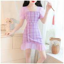 Dress Summer 2020 S,M,L Short skirt singleton  Short sleeve commute square neck High waist lattice zipper A-line skirt puff sleeve 18-24 years old Type A Other / other lady 81% (inclusive) - 90% (inclusive)