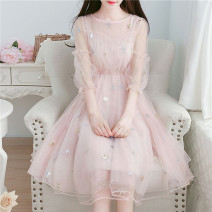 Dress Summer 2020 Apricot, pink, bluish grey S,M,L,XL,2XL,3XL,4XL,5XL Mid length dress Two piece set three quarter sleeve Sweet Crew neck middle-waisted Decor Socket Princess Dress bishop sleeve Others 18-24 years old Type A Lotus leaf, Auricularia auricula, gauze net other Mori