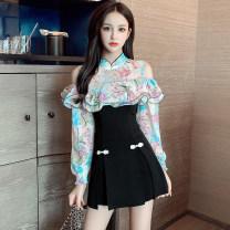 Dress Autumn 2020 black S,M,L,XL,2XL Short skirt Two piece set Long sleeves commute stand collar High waist Decor zipper A-line skirt puff sleeve Type A Retro