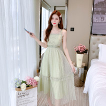 Dress Summer 2021 Light green S,M,L,XL,2XL longuette singleton  Sleeveless commute High waist Socket A-line skirt camisole 25-29 years old Type A Gauze Lace polyester fiber