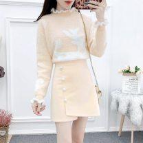 Fashion suit Winter 2020 S,M,L,XL Red jacket + black skirt, apricot jacket + apricot skirt, single red jacket, single apricot jacket, single black skirt, single apricot skirt Other / other