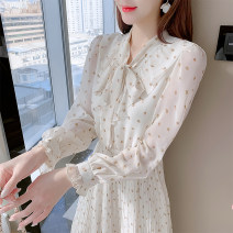 Dress Spring 2021 Picture color, short sleeve S,M,L,XL Mid length dress singleton  Long sleeves commute Polo collar Elastic waist Broken flowers Socket A-line skirt other Type A Korean version Bowknot, lace up, stitching 81% (inclusive) - 90% (inclusive) Chiffon