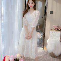 shirt white S,M,L,XL Autumn 2020 other 31% (inclusive) - 50% (inclusive) elbow sleeve commute V-neck zipper routine Solid color Korean version Chiffon