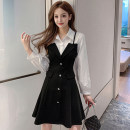 Dress Autumn 2020 black S,M,L,XL Middle-skirt Fake two pieces commute Polo collar High waist Solid color Socket A-line skirt routine 18-24 years old Korean version Splicing 51% (inclusive) - 70% (inclusive)