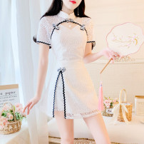 Dress Summer 2021 white S,M,L,XL Short skirt Two piece set Short sleeve commute stand collar High waist Solid color zipper A-line skirt routine Others 25-29 years old Type A Other / other lady Lace