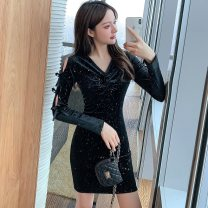 Dress Winter 2020 black S,M,L,XL Short skirt singleton  Long sleeves commute V-neck High waist Solid color Socket One pace skirt routine Others Type A Retro Bowknot, hollow out, three-dimensional decoration, Sequin, zipper