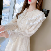 Dress Spring 2021 Apricot, white S,M,L,XL Mid length dress singleton  Long sleeves commute Doll Collar Elastic waist Solid color Socket A-line skirt other Type A Korean version Fungus, splicing 81% (inclusive) - 90% (inclusive) Chiffon