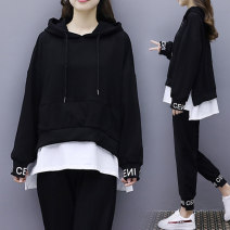 Women's large Spring 2021 black Large XL Large 2XL large 3XL large 4XL large 5XL Other oversize styles Two piece set commute easy moderate Socket Long sleeves letter literature Crew neck Medium length Three dimensional cutting routine Ink 25-29 years old Asymmetry Ninth pants