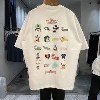 T-shirt Youth fashion White, black, orange, yellow routine Average size Others Short sleeve Crew neck easy daily spring