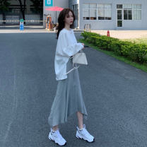 Women's large Autumn 2020 S M L XL shirt Two piece set commute easy moderate Socket Long sleeves Solid color Korean version Crew neck Medium length routine Omtunsay / ortenza 18-24 years old Middle-skirt Other 100% Pure e-commerce (online only) Irregular skirt