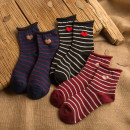Socks / base socks / silk socks / leg socks female Other / other Priority delivery in collection shop Wine red, black, navy 1 pair routine Middle cylinder Four seasons Sweet stripe cotton hygroscopic and sweat releasing jacquard weave Common crotch
