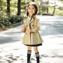 Plain coat Other / other female 110cm,120cm,130cm,140cm,150cm,160cm khaki spring and autumn Korean version double-breasted There are models in the real shooting Detachable cap Solid color other other Class C