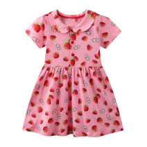 Dress Pink female Other / other 2T is suitable for height about 85, 3T is suitable for height about 90, 4T is suitable for height about 100, 5T is suitable for height about 110, 6T is suitable for height about 120, 7T is suitable for height about 125 Cotton 95% other 5% summer leisure time cotton