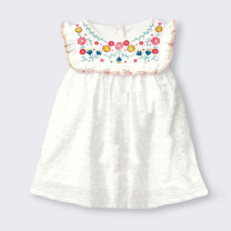 Dress white female Other / other Cotton 95% other 5% summer lady Short sleeve Broken flowers cotton A-line skirt 12 months, 18 months, 2 years old, 3 years old, 4 years old, 5 years old, 6 years old, 7 years old