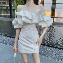 Dress Summer 2020 White blue S M Short skirt singleton  Short sleeve Sweet One word collar High waist Solid color Socket A-line skirt other camisole 18-24 years old Type A Xiangdona Open back zipper 0U1913 More than 95% other Other 100% Ruili Pure e-commerce (online only)