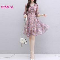 Dress Summer 2021 Picture color S,M,L,XL,2XL Mid length dress Two piece set elbow sleeve V-neck High waist Socket Ruffle Skirt pagoda sleeve Others Kymtal L21031505H More than 95% Chiffon