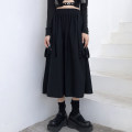 skirt Autumn 2020 M L XL black Mid length dress commute High waist A-line skirt Solid color Type A 18-24 years old FL162 More than 95% brocade Kimushi cotton Bandage and strap Korean version Cotton 100% Pure e-commerce (online only)