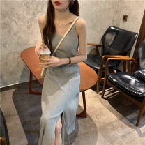 Women's large Summer 2021 Striped grey black S M L Dress other Kumisa Other 100%