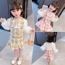 Dress Khaki, pink female Other / other 90cm,100cm,110cm,120cm,130cm Other 100% spring Korean version Long sleeves lattice cotton Lotus leaf edge Xls518 & YC double row button fake two piece princess skirt Class B Chinese Mainland Zhejiang Province