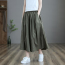 Casual pants Caramel black Average size Spring 2021 Ninth pants Wide leg pants Natural waist commute routine dza97330 Dza (clothing) literature pocket Cotton 100% Pure e-commerce (online only)