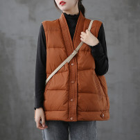 Vest Winter 2020 Caramel black Khaki M L routine V-neck Solid color Single breasted dza95378 I-shaped Dza (clothing) 96% and above polyester fiber Polyester 100% Pure e-commerce (online only)
