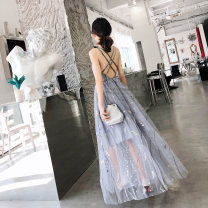 Dress / evening wear Wedding, adulthood, party, company annual meeting, performance, routine, appointment XS,S,M,L grey Korean version longuette High waist Winter 2020 princess Sling type zipper Polyester fiber high grade woven dress fabric 26-35 years old Sleeveless flower Solid color routine