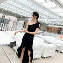Dress / evening wear Wedding, adulthood, party, company annual meeting, performance, routine, appointment XS,S,M,L black Korean version Medium length middle-waisted Summer 2021 Self cultivation Single shoulder type zipper Polyester fiber high grade woven dress fabric 26-35 years old Short sleeve