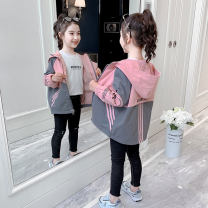 Plain coat female 110cm 120cm 130cm 140cm 150cm 160cm spring and autumn Korean version Zipper shirt There are models in the real shooting routine No detachable cap other cotton other Class B Autumn 2020