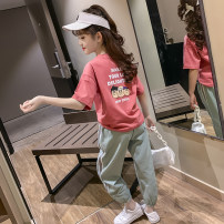 suit Shun Yi Bei Er West Red White 110cm 120cm 130cm 140cm 150cm 160cm 170cm female summer motion Short sleeve + pants 3 pieces Thin money There are models in the real shooting Socket nothing Cartoon animation cotton children Expression of love NLX21888 Class B Summer 2021