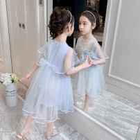 Dress Blue Pink female Shun Yi Bei Er 110cm 120cm 130cm 140cm 150cm 160cm Other 100% summer Korean version flower Netting A-line skirt ZJXZ213 Class B 3 years old, 4 years old, 5 years old, 6 years old, 7 years old, 8 years old, 9 years old, 10 years old, 11 years old, 12 years old