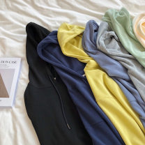 Sweater / sweater Spring 2021 Black, light green, dark blue, gray, yellow, apricot, haze blue Average size Long sleeves routine Socket singleton  routine Hood easy routine Solid color 18-24 years old Resin fixation