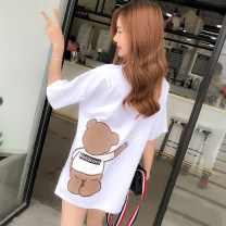 T-shirt S,M,L,XL,2XL Summer 2021 Short sleeve Crew neck easy Medium length routine commute cotton 96% and above 18-24 years old Korean version originality Cartoon animation Card system YX912 printing