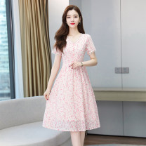 Dress Summer 2021 Pink S M L XL 2XL Mid length dress Short sleeve commute V-neck middle-waisted A-line skirt routine 25-29 years old Baimurifi Korean version BM9216-6# More than 95% Chiffon other Other 100% Pure e-commerce (online only)