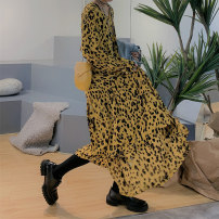 Dress Spring 2021 Leopard yellow S,M,L longuette singleton  Long sleeves street Crew neck Loose waist Leopard Print Socket Big swing routine Others 18-24 years old Type A E19975 skirt 81% (inclusive) - 90% (inclusive) Chiffon polyester fiber