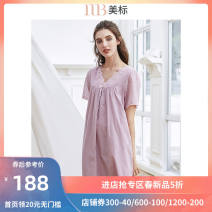 Nightdress American Standard 160(M) 165(L) 170(XL) 175(XXL) Sweet Short sleeve pajamas Middle-skirt summer Solid color youth V-neck cotton lace More than 95% Woven cotton fabric Summer of 2018 Cotton 100%