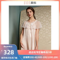 Nightdress American Standard 020436 light blue 020436 orange powder 160(M) 165(L) 170(XL) 175(XXL) luxurious Short sleeve pajamas Short skirt summer Solid color youth Crew neck silk lace More than 95% silk 020436.. 200g and below Winter of 2018 Mulberry silk 100%