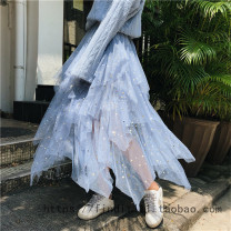 skirt Autumn of 2018 Average size Lotus, apricot, blue, blue soft sweater, pink flower edge sweater longuette street High waist A-line skirt other Type A XYM-B38A-7728 81% (inclusive) - 90% (inclusive) other Stitching, folding Europe and America