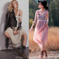 Dress Summer of 2019 Black, pink, Burgundy, apricot, navy S,M,L,XL longuette singleton  Sleeveless street One word collar High waist Solid color Socket Big swing camisole Lace, backless 8101 in stock More than 95% Lace Europe and America