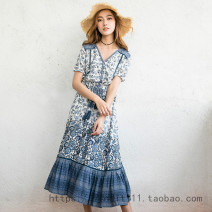Dress Spring of 2018 S,M,L,XL longuette Two piece set Short sleeve Sweet V-neck Elastic waist Decor Single breasted Big swing routine Others printing 71% (inclusive) - 80% (inclusive) cotton Bohemia