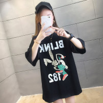 T-shirt White black M L XL 2XL Summer 2020 Short sleeve Crew neck easy Medium length routine commute polyester fiber 51% (inclusive) - 70% (inclusive) 18-24 years old Korean version youth Cartoon letters Love of butterfly TY1189 printing Pure e-commerce (online only)