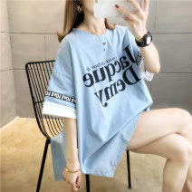 T-shirt M L XL 2XL Spring 2020 Short sleeve Crew neck easy Medium length routine commute polyester fiber 51% (inclusive) - 70% (inclusive) 18-24 years old Korean version originality Letter splicing Love of butterfly printing Polyester 65% Cotton 30% polyurethane elastic fiber (spandex) 5%